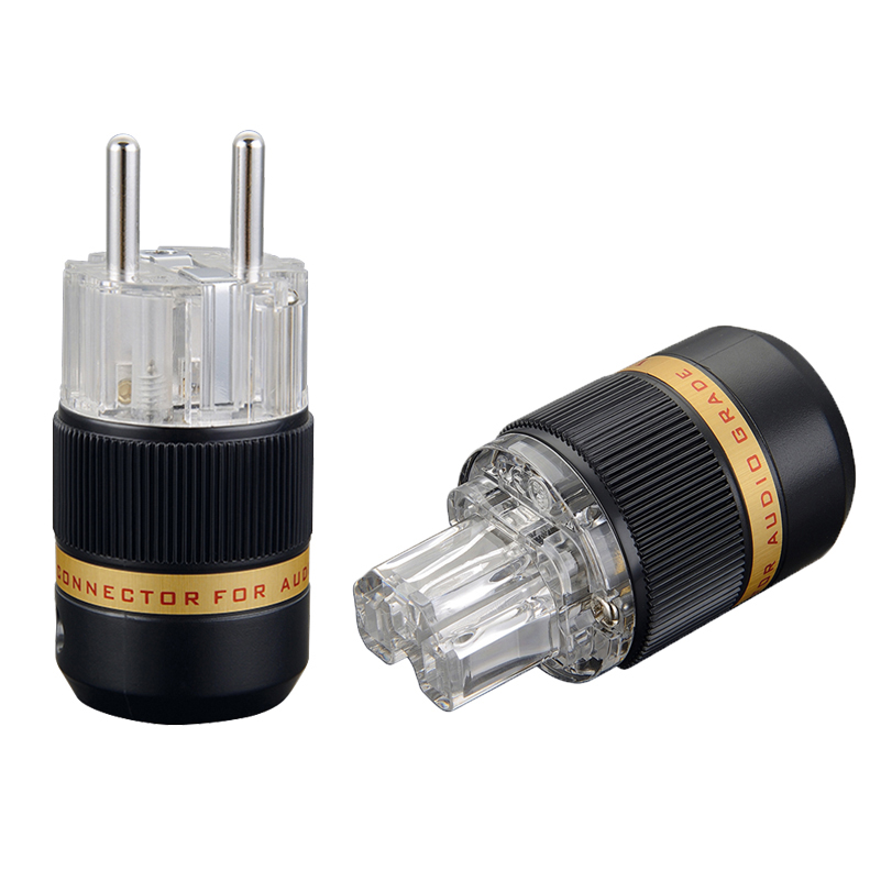 Viborg VE511R+VF511R 99.99% Pure Copper Transparent rhodium Plated Schuko EU Hifi audio Power cable adapter Plug hifi audio diy power cable alpha series fp 3ts20 alpha occ and eu rhodium pure cupper schuko plug iec electrical