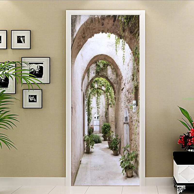 PVC Self-Adhesive Waterproof Mural Wallpaper Modern 3D Stereo Arch Green Leaf Door Sticker Living Room Bedroom Papel De Parede