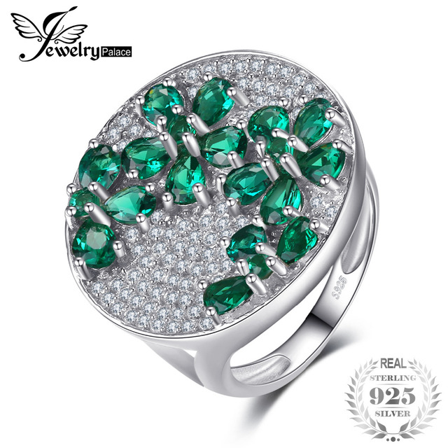 JewelryPalace Huge Luxury 3.3ct Created Emerald Cocktail Ring Genuine 925 Sterli