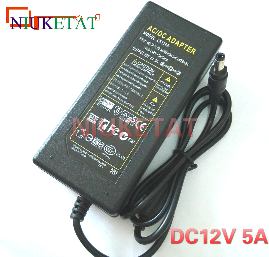 LX1205 <font><b>12V</b></font> 5A 12V5A <font><b>60W</b></font> LED strip power adapter AC 110-240V 5.5*2.5-2.1 <font><b>dc</b></font> LED Power Supply Adapter drive for RGB LED 5050 3528 image