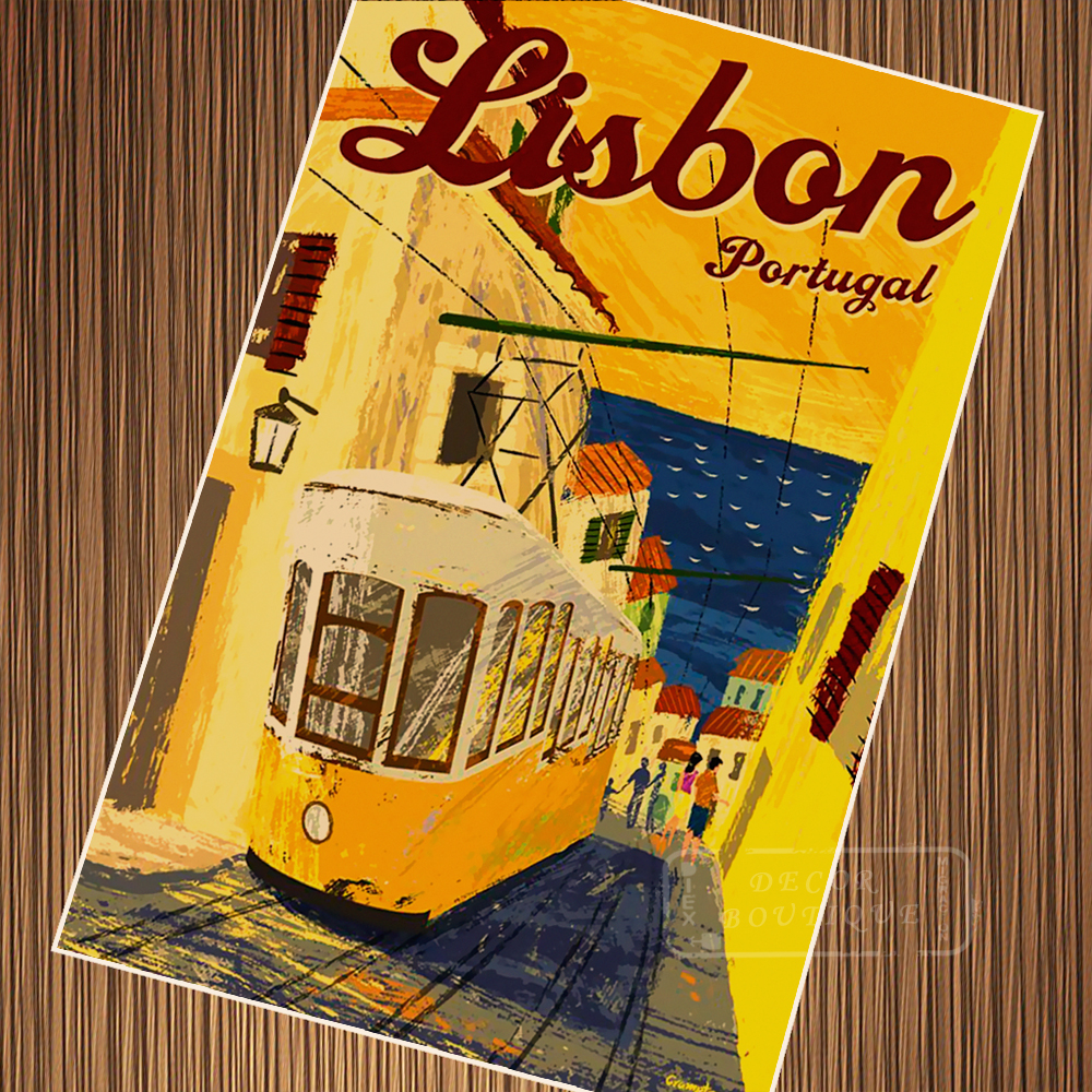 Lisbon Portugal Tramcar Travel Retro Vintage Poster Canvas Painting Diy Wall Paper Posters Home Decor Gift Vintage Poster Paper Posterposter Vintage Aliexpress