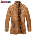 Plus Size M-4XL Leather Suede Thick Long Mens Leather Jacket Wool Liner Pilot Leather Jacket Male PU Biker Fleece Lined Jacket