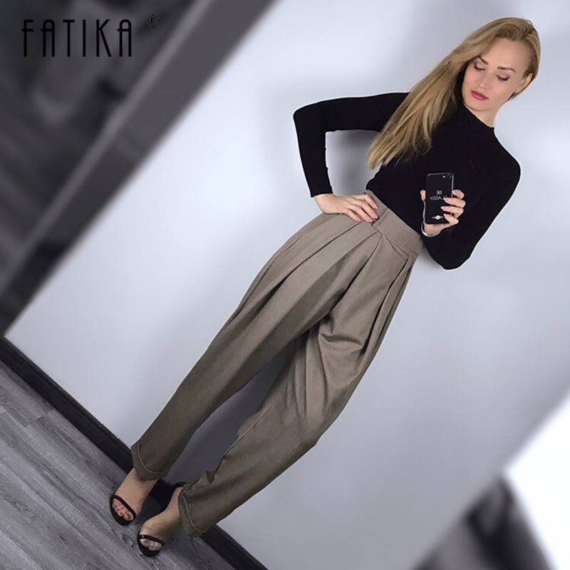 FATIKA 2019 Spring New Hot Women Pants Solid Loose Casual Pants Stylish Ladies Pockets Long Trousers