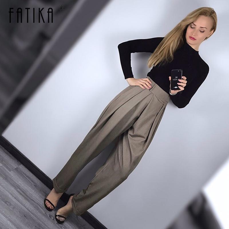 FATIKA 2019 ฤดูใบไม้ผลิใหม่ผู้หญิงกางเกงหลวมๆกางเกงสบายๆสไตล์สุภาพสตรีกระเป๋ากางเกงยาวผู้หญิงเสื้อผ้า-ใน กางเกงและกางเกงรัดรูป จาก เสื้อผ้าสตรี บน AliExpress - 11.11_สิบเอ็ด สิบเอ็ดวันคนโสด 1
