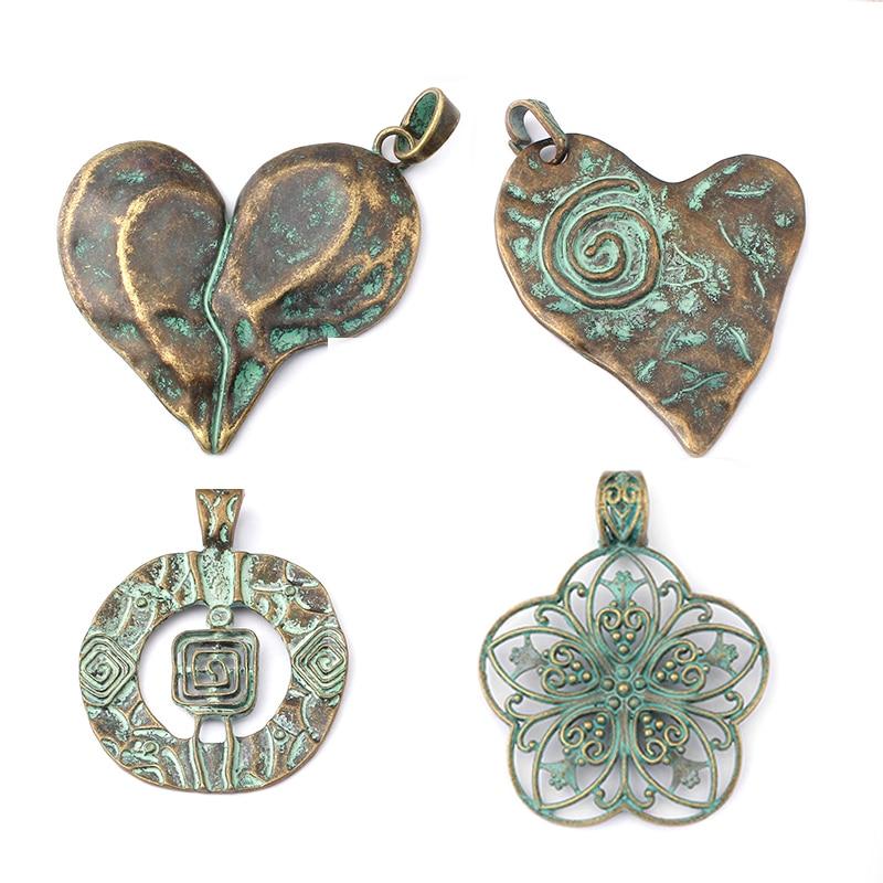 2pcs Large Antique Bronze Round Medallion Boho Charms Pendants Jewelry Findings