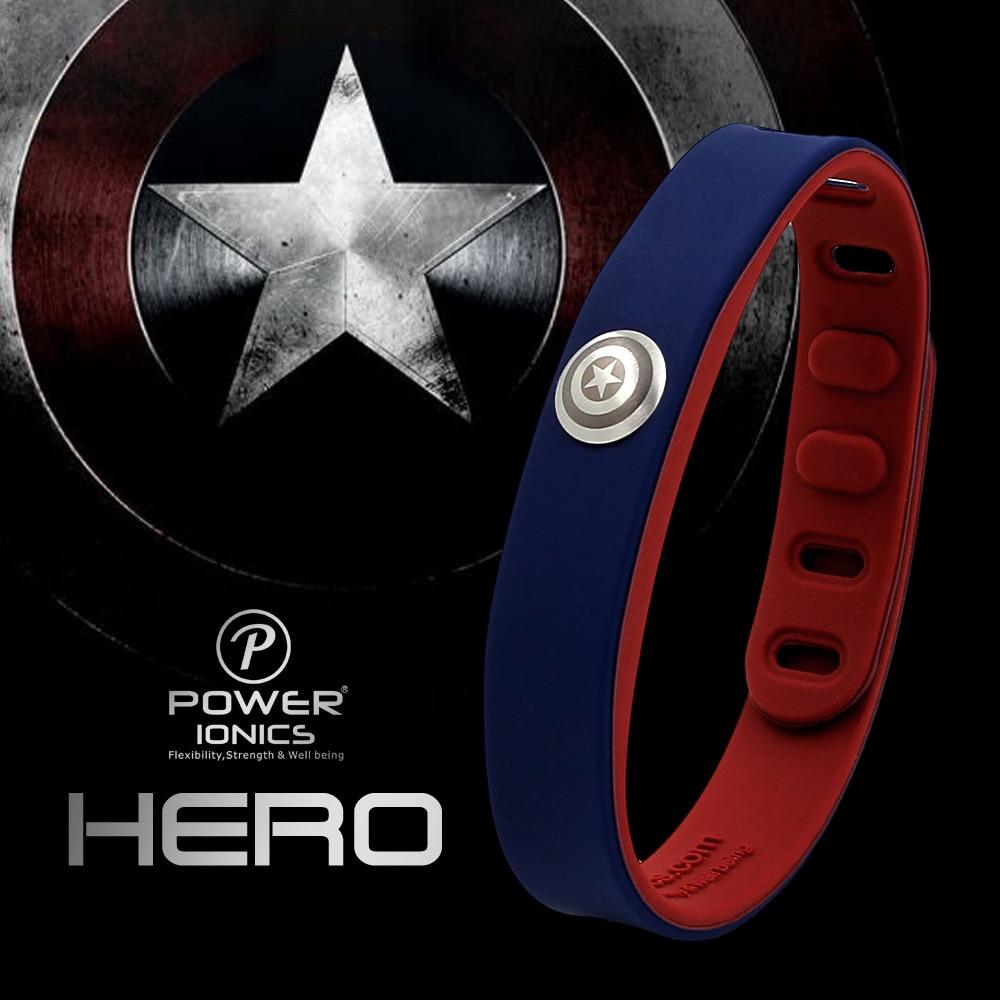 Power Ionics Hero Series Captain IDEA BAND 3000 ions Sports Waterproof Titanium Healthy Bracelet Wristband Balance Body