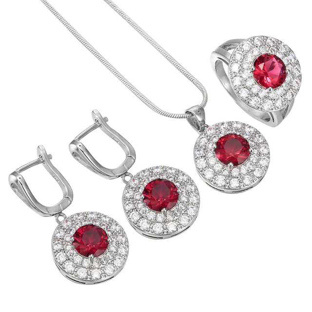 silver color red jewelry sets top quality round full of zircon classic round wedding ring necklace - Wedding Ring Necklace
