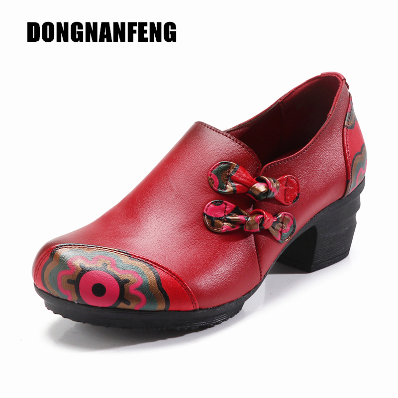 d8635027b46 DONGNANFENG Women Flats Old Mother Female Shoes Loafers Cow Genuine Leather  Casual Floral Flower Zipper Vintage 35-41 YTZ-6018
