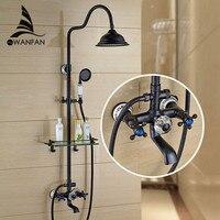 New Arrival Black Brass Shower Faucet Set 8 Inch Shower Head Hand Shower Sprayer Commodity Shelf
