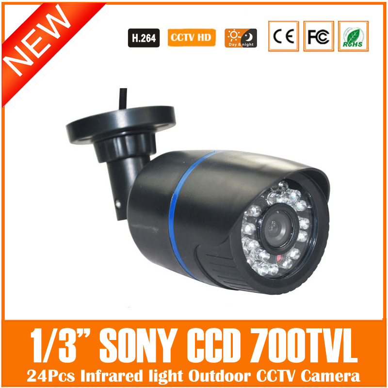 Ccd 700tvl Bullet Camera 24 Infrared Light Night Vision Home Security Surveillance Cctv Outdoor Waterproof Freeshipping Hot mini bullet cvbs ccd camera 700tvl with headset mount for mobile surveillance security video 5v