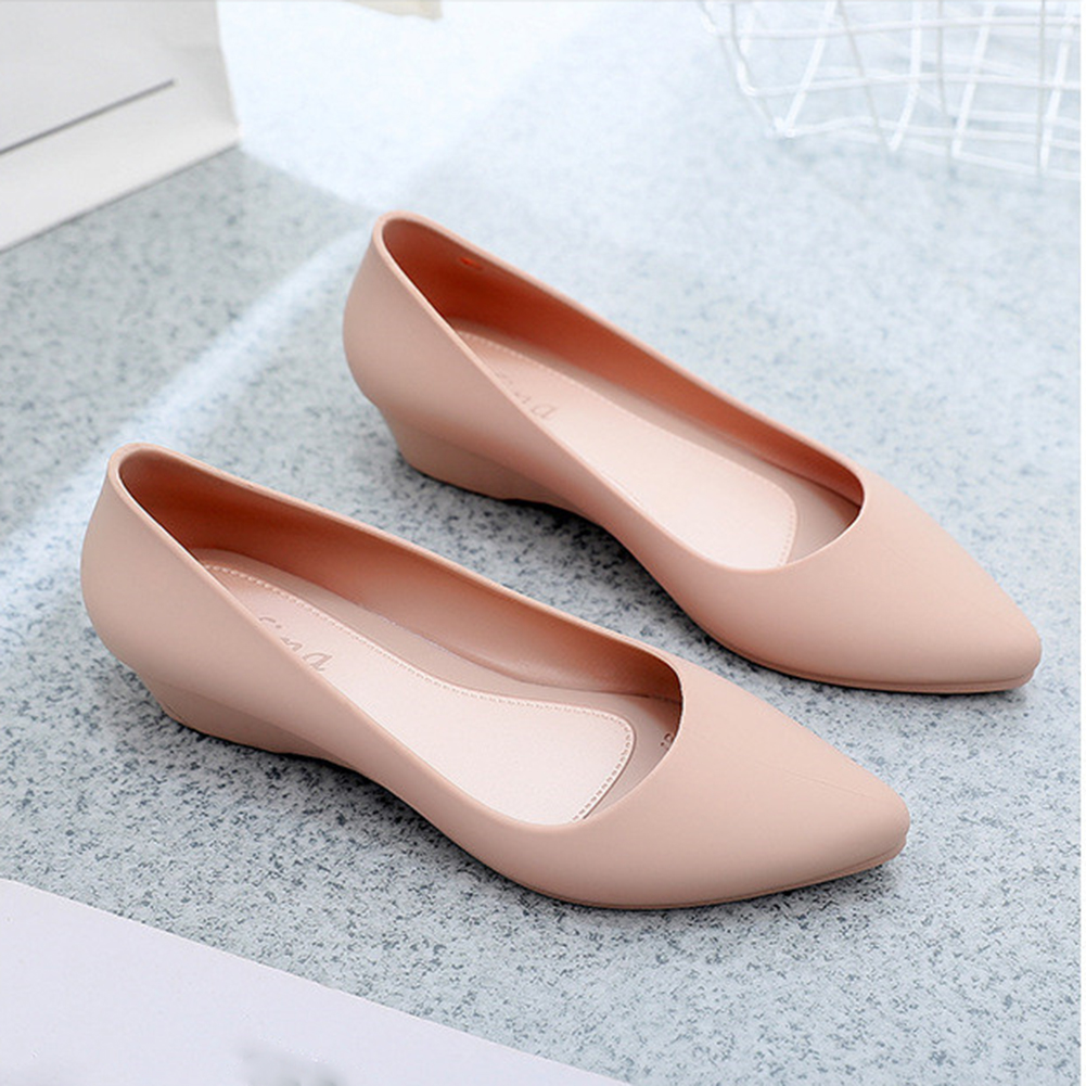 2019 New Woman Wedges Sandals Simple Girls Jelly Shoes Waterproof Ladies Pointed Toe Heels Casual Working Shoes Zapatos De Mujer
