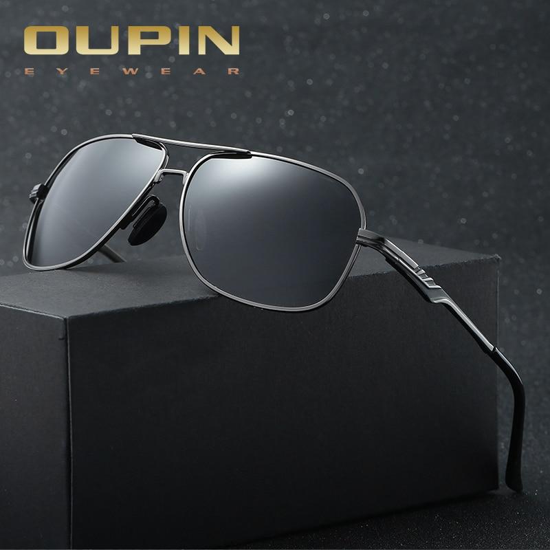 Oupin Pescaria Marque Classique lunettes de soleil Polarisées Hommes  Conduite Carré Noir Cadre Lunettes Mâle Lunettes de Soleil pour hommes  Oculos Gafas 4bebf62af47c
