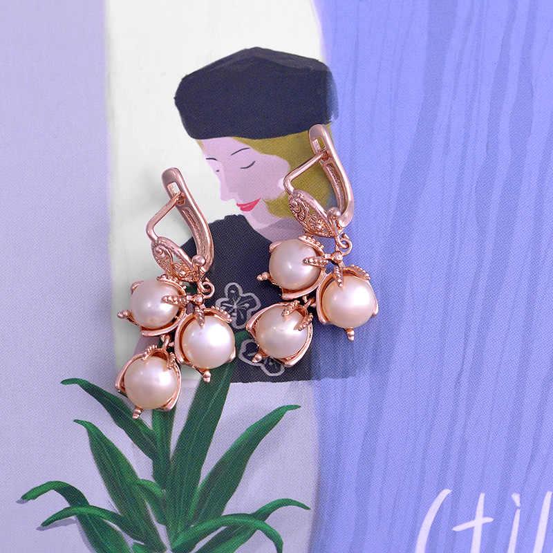 Роскошные серьги-капли ishowle с жемчугом из розового золота 585 пробы, Женские аксессуары, серьги 2019, Модные женские ювелирные изделия esp24