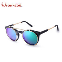 FONHCOO 2017 New Cat Eyes Sunglasses Women Double Beam Separable Lens Clear Mirror Lens Vintage Round