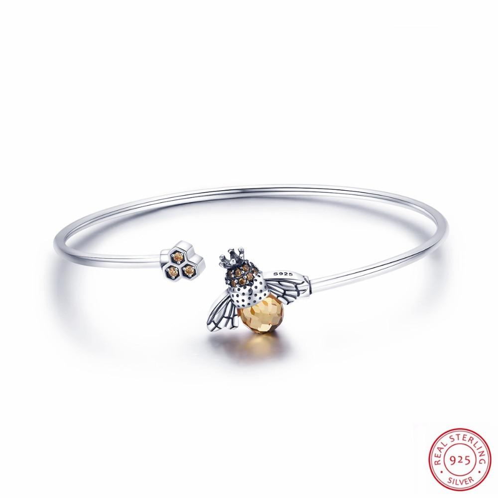 100% véritable histoire de l'abeille 925 en argent Sterling charmant bijoux Bracelet bracelets pour femmes accessoires de mode prix usine