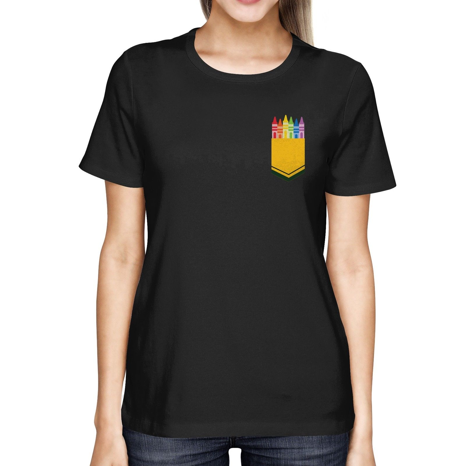 Design t shirt with pocket - Color Crayon Pocket Print Women S T Shirt Cool Gifts For Teachers For Women Summer 2017