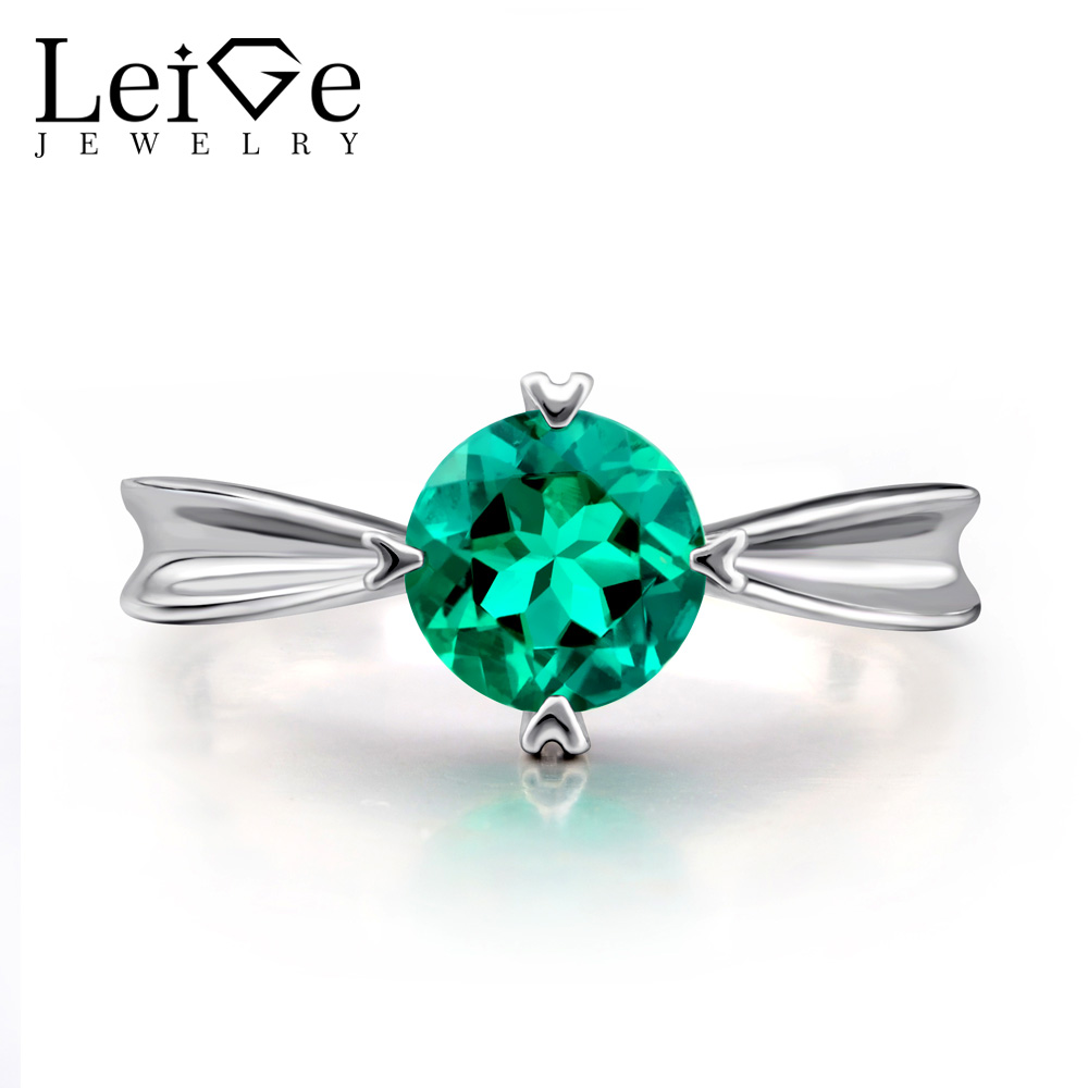 Leige Jewelry Emerald Ring Round Cut Sterling Silver 925 Green Gemstone Engagement Anniversary Rings for Women Fine Jewelry цена