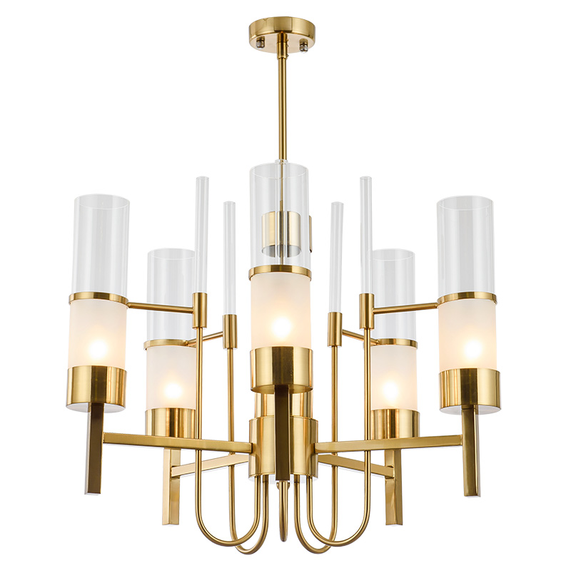 New classical glass and GOLD iron chandelier hotel living room bedroom luxury decroration 6 PSC E14 lamp hanging light Lighting