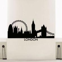 London Skyline City Silhouette Wall Sticker Beauty Fashion Modern Room Decoration Vinyl Art Design Poster Mural Decals W112