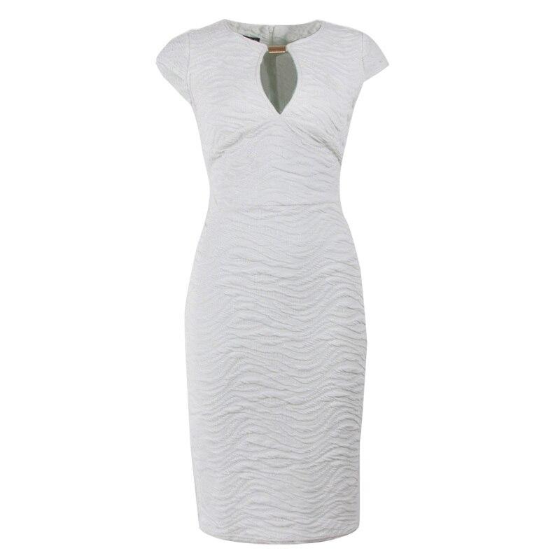 Módní elegantní O-neck žena šaty krátký rukáv bílá tužka Party Bodycon Lady Sequin šaty
