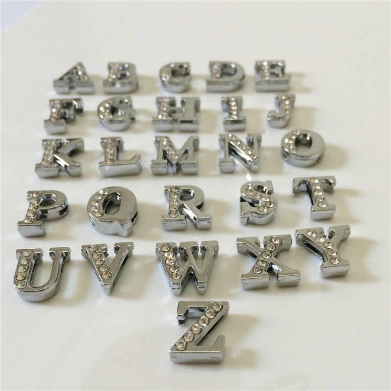 """8 MILÍMETROS DIY Prata Metade Strass Slides Letras """"A-Z"""" Cartas Escolher Livremente Ajuste 8 MILÍMETROS DIY Pulseira Cinto SL05"""