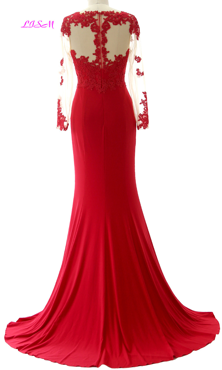 Real Photos Red Appliqued Mermaid Evening Dresses Sheer Backless Long Sleeves Prom Gowns Sweep Train Formal Dress robe de soiree