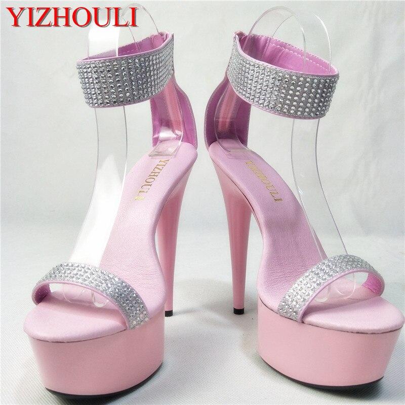 Sexy Zapatos Club De Del Baile Claro 6in Tacón 15 plata rosado Nocturno Alto Cm Mujeres Rosa Sandalias z78xCB7