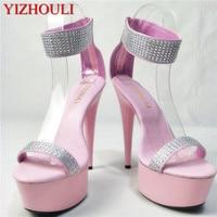 Women's 15cm high heels, pink high heeled 6in high heeled sandals sexy nightclub dancing shoes