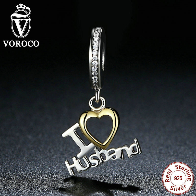 VOROCO Romantic 925 Sterling Silver I Love Husband Heart Pendants fit Pandora Charms Bracelets Gift Lover