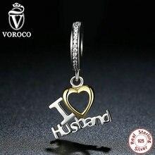 VOROCO Romántica 925 Plata Esterlina Amo Marido Corazón Colgantes fit Pandora Charms Pulseras Regalo de La Joyería de Moda Amante C050