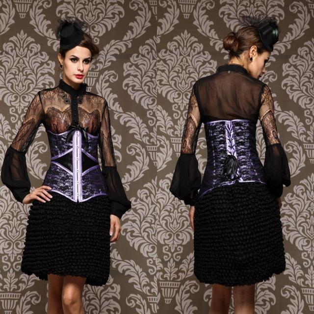 Estilo Retro para mujer Sexy Corset Lace Up Bustiers púrpura con tanga tanga