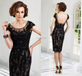 2016 Elegant Lace Sleeveless A-line Mother Evening Dress Cap Sleeve Scoop Short Black Mother of the Bride Lace Dresses