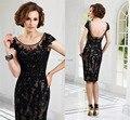 2016 Elegante Sem Mangas Lace A Linha Mãe Vestido de Noite da Luva do Tampão Colher Curto Preto Mãe da Noiva Vestidos de Renda
