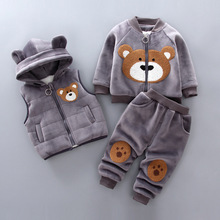 цены на Boys Girls Winter Clothes Children Clothing Sets Kids Sport Suit Cartoon Bear Clothes Girls Clothing Set Kids Tracksuit 3pc  в интернет-магазинах