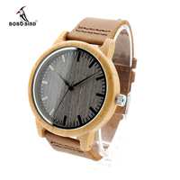 Dark Grey Wood Dial Bamboo Shell Watches With Genuine Cowhide Leather Round Wooden Wristwatch For Men