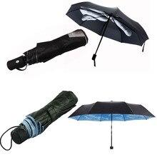 Good 6 styles Novelty Middle Finger Design Black transparent sakura sky and cloud Umbrella Cool Fashion Impact Umbrella 3 Fold