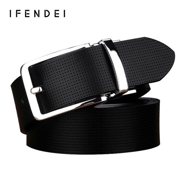 IFENDEI Rotativo Cara Cinturón Marca de Lujo Cinturones de Cuero Genuino Moda Correa del Zurriago Blanco Casual Male Cinturones Hombre