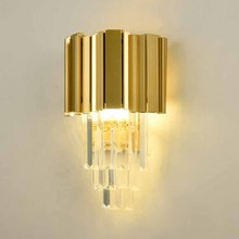 BOKT Luxury Gold Crystal Wall Lamp Modern Simple Living Room Bedroom Bedside Lamp Decor Home Wall Sconce Light Fixture Luminaria