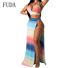 FUDA Sexy Deep V Neck Halter Top and High Split Maxi Dress Women Elegant Backless Off Shoulder Vintage Summer Beach Wear