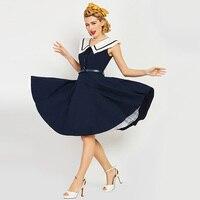 Sisjuly Women S Vintage Dress Sailor Collar Solid Dark Bule Sleeveless Knee Length Rockabilly Vintage Dress