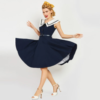 Sisjuly Women S Vintage Dress Sailor Collar Solid Dark Bule Sleeveless Knee Length Rockabilly Vintage Dress