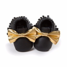 2016 Newborn Pu leather Infant Toddler First Walkers Unique Butterfly-knot And Tassel Style Design Baby Shoes