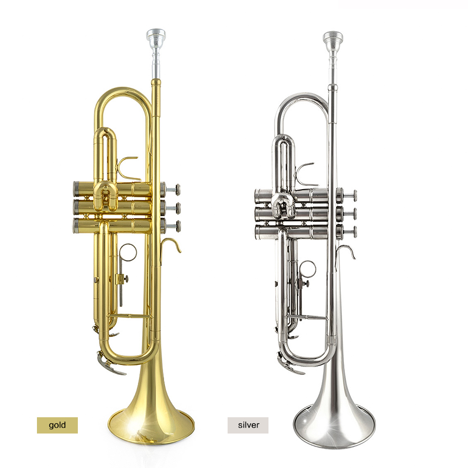 Trumpet Bb Flat Brass Exquisite with Mouthpiece Gloves Free Shipping Musical Instruments  JBTR-300 high quality musical instruments many colors gold lacquer trumpet bb b flat brass exquisite with mouthpiece gloves