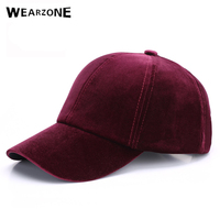 Wearzone 2017 Women Baseball Velvet Cap Soft Fashion Hats For Men Hip Hop Solid Color Vintage