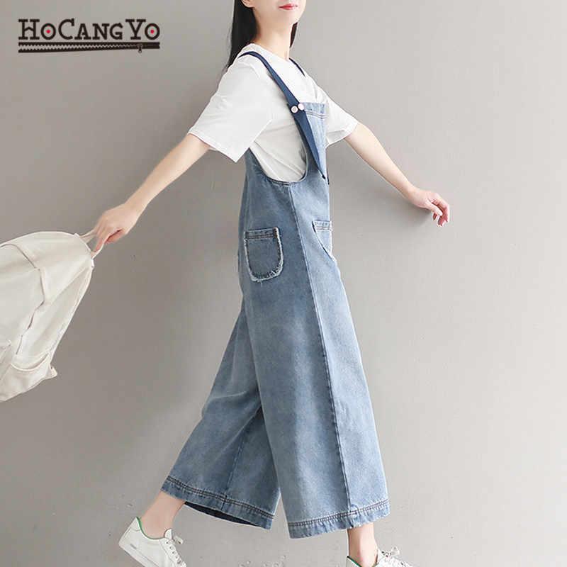HCYO новые женские комбинезоны длинные плюс размер 5XL Свободная Повседневная без рукавов комбинезон широкие брюки комбинезоны для женщин хлопковые джинсовые комбинезоны