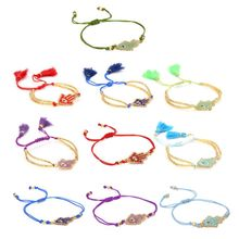 JAVRICK Handmade Friendship Evil Eye Bracelet Hamsa Hand Fatima Tassel Seed Bead Fashion Jewelry Christmas Gifts