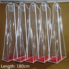 180 см дешевые оптовые прозрачные твердые для свадебного платья Пылезащитный Чехол очень большой водонепроницаемый ПВХ одежды сумки печати логотипа