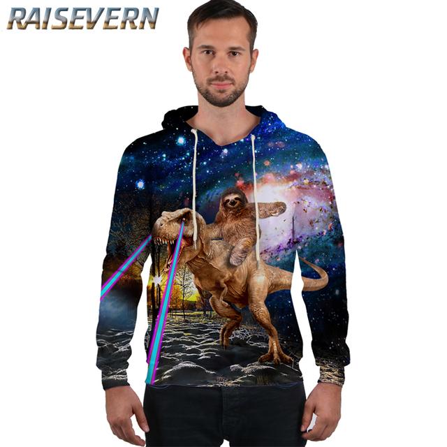 RAISEVERN Dinosaur Sloth Galaxy Space Men/Women Hoodies Sweatshirts 3D Print Pullover Hoodies Tops Men Hooded thick For Winter
