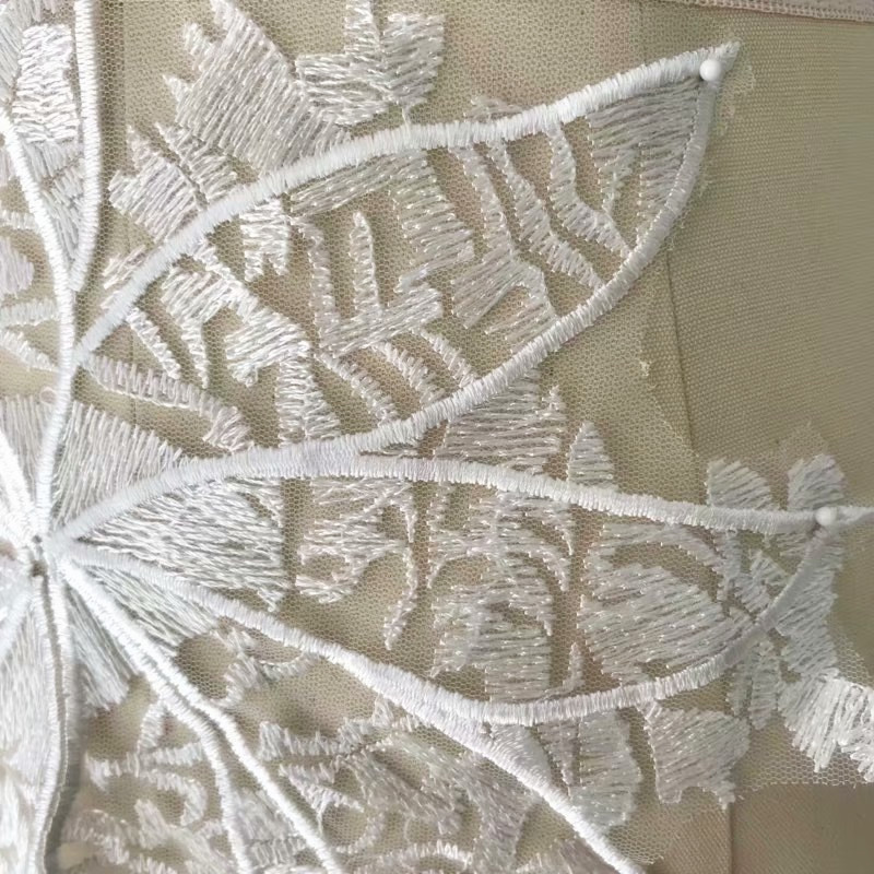 1 Piece Maple Leaf Bridal Gown Lace Applique Embroidery Patches Trim Collar Wedding Bodice Bridal Veil Accessories Ivory in Lace from Home Garden