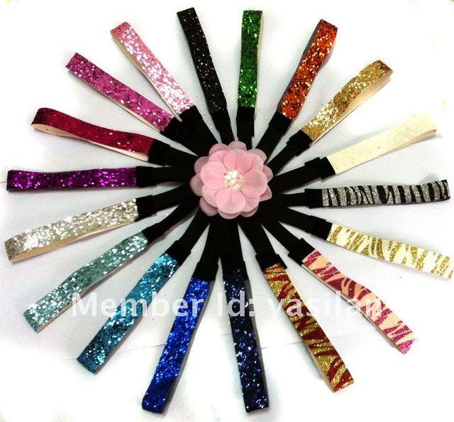 "Free shipping Fashion 3/4""  Glitter Headbands women headbands  300pcs/lot 32 color IN STOCK"